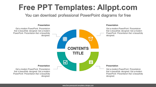 4-part circle ring PowerPoint Diagram Template-list image