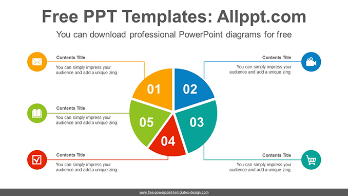 5 split pie chart PowerPoint Diagram Template-post image