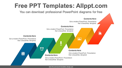 Cascading ribbon arrow PowerPoint Diagram Template-list image