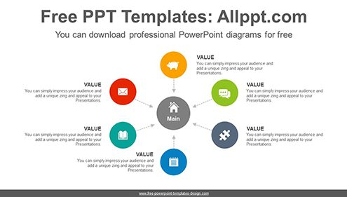 Center pointing arrow PowerPoint Diagram Template-list image