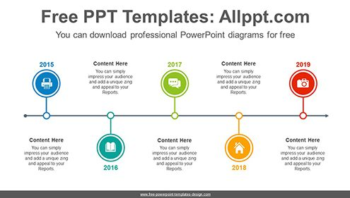 Five circled timelines PowerPoint Diagram Template-list image