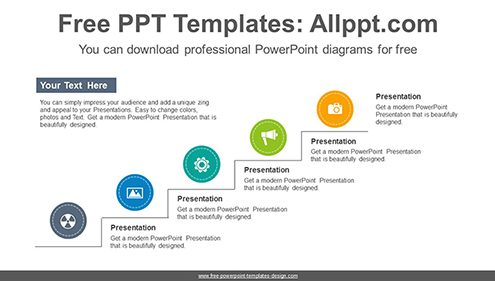 Line type stairway PowerPoint Diagram Template-list image