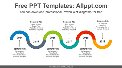 Snake-shaped semicircular ring PowerPoint Diagram Template-list image