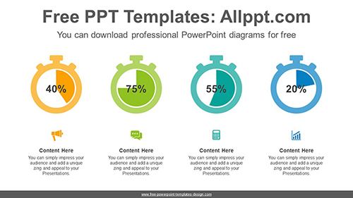 Stopwatch pie charts PowerPoint Diagram Template-list image