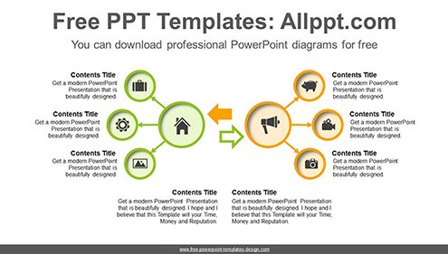 Symmetrical radial circles PowerPoint Diagram Template-list image