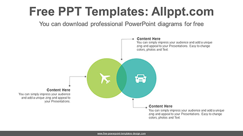 Two circle intersections PowerPoint Diagram Template-list image