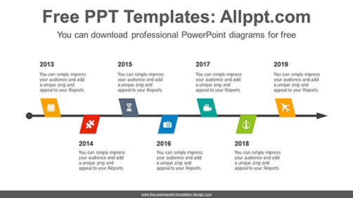 Zigzagged flags PowerPoint Diagram Template-list image