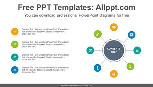 Eight radial circles PowerPoint Diagram Template-list image