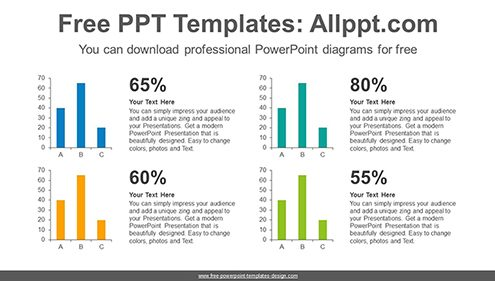 Four vertical bar chart PowerPoint Diagram Template-image