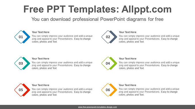 Overlapped diamond list PowerPoint Diagram Template-post image