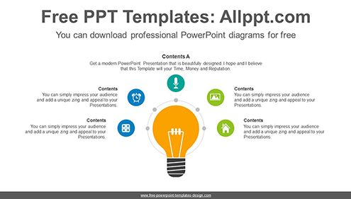 Radial bulb PowerPoint Diagram Template-list image