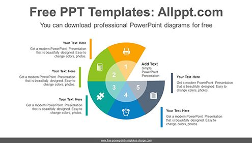 Radial doughnuts PowerPoint Diagram Template-list image