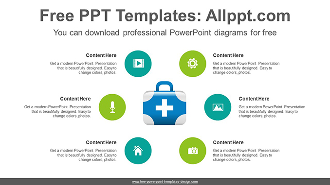 Radial medical box PowerPoint Diagram Template-post image