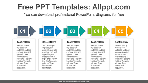 Rectangle crossing arrows PowerPoint Diagram Template