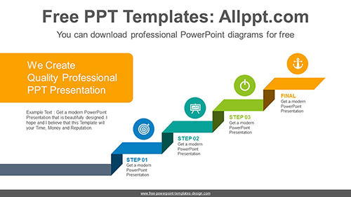 Ribbon stair PowerPoint Diagram Template-list image